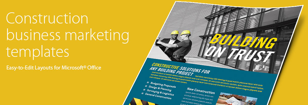Construction Brochures, Flyers, Newsletters - Microsoft Word Templates & Publisher Templates