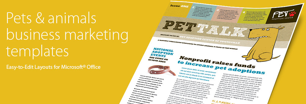 Pets & Animals Brochures, Flyers, Newsletters - Microsoft Word Templates & Publisher Templates