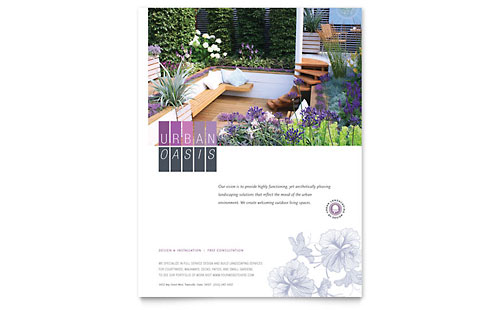 Urban Landscaping Flyer Template - Microsoft Office
