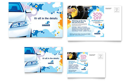 Car Wash Postcard Template Design