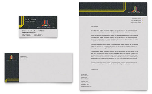 Trucking & Transport Business Card & Letterhead Template - Microsoft Office