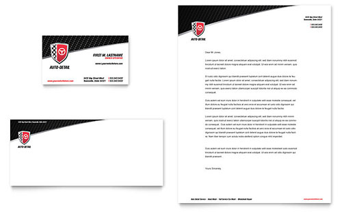 Auto Detailing Business Card & Letterhead Template - Microsoft Office