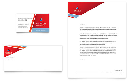 Aviation Flight Instructor Business Card & Letterhead Template - Microsoft Office