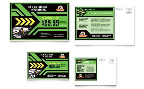 Oil Change Postcard Template - Microsoft Office