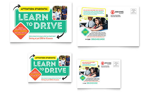 Driving School Postcard Template Design
