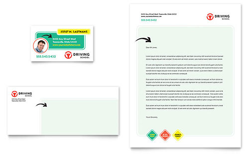 Driving School Business Card & Letterhead Template - Microsoft Office