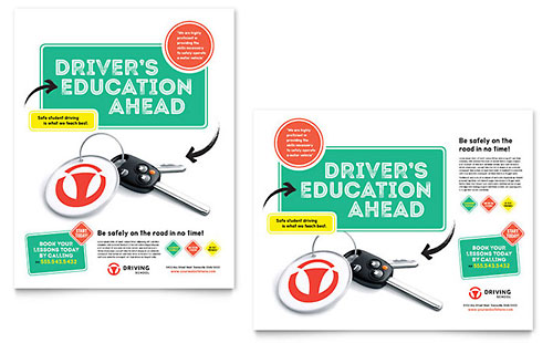 Driving School Poster Template Design