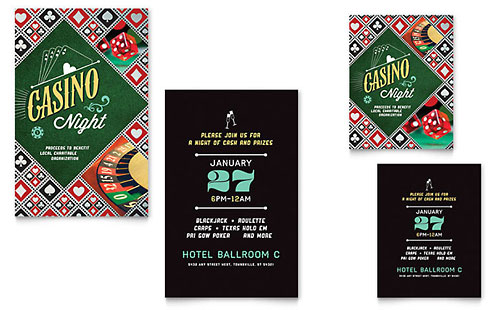 Casino Night Note Card - Microsoft Office Template