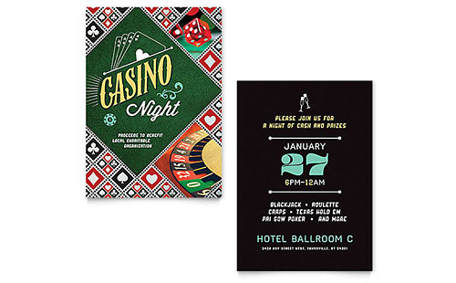 Casino Night Invitation - Word Template & Publisher Template