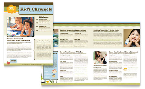Child Development School Newsletter Template Design