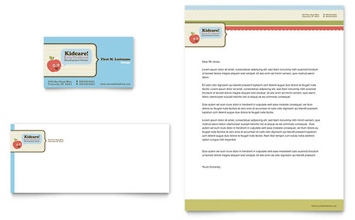 Child Development School Business Card & Letterhead Template Design