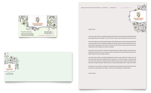 Babysitting & Daycare Business Card & Letterhead Template Design