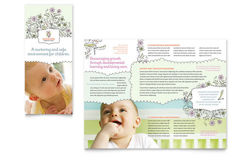 Babysitting & Daycare Tri Fold Brochure - Microsoft Office Template