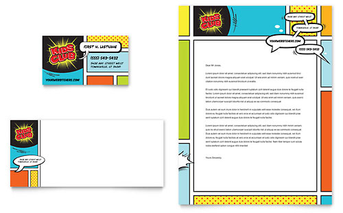 Kids Club Business Card & Letterhead Template Design