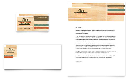 Home Builders & Construction Business Card & Letterhead Template - Microsoft Office