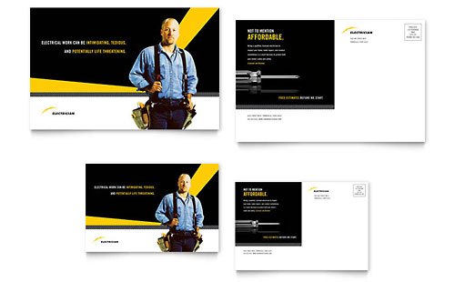 Electrician Postcard - Microsoft Office Template