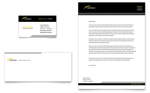 Electrician Business Card & Letterhead Template - Microsoft Office