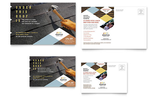 Roofing Contractor Postcard - Microsoft Office Template