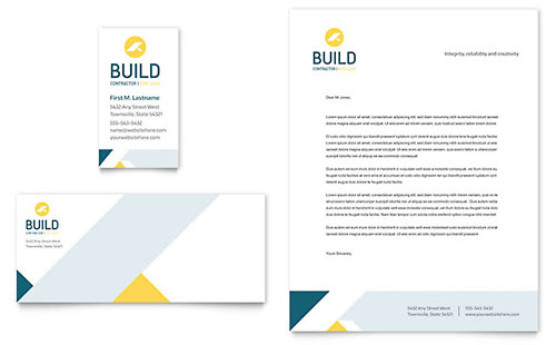 Contractor Business Card & Letterhead - Microsoft Office Template