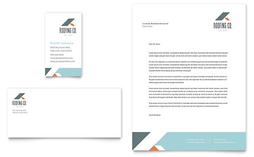 Roofing Company Business Card & Letterhead Template - Microsoft Office