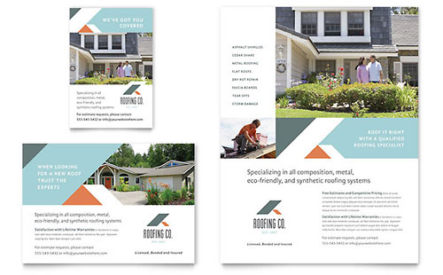 Roofing Company Flyer & Ad - Microsoft Office Template