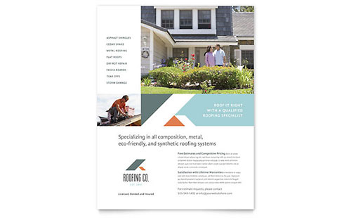 Roofing Company Flyer - Microsoft Office Template