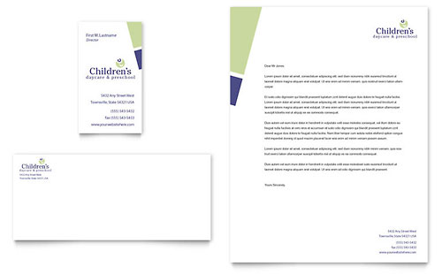 Child Care & Preschool Business Card & Letterhead Template - Microsoft Office