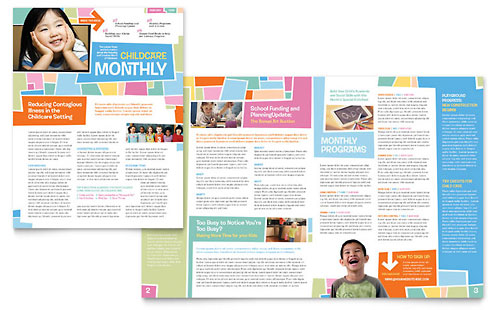 Preschool Kids & Day Care Newsletter - Word Template & Publisher Template