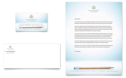 Academic Tutor & School Business Card & Letterhead - Microsoft Office Template