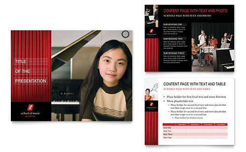 Music School PowerPoint Presentation Template Design