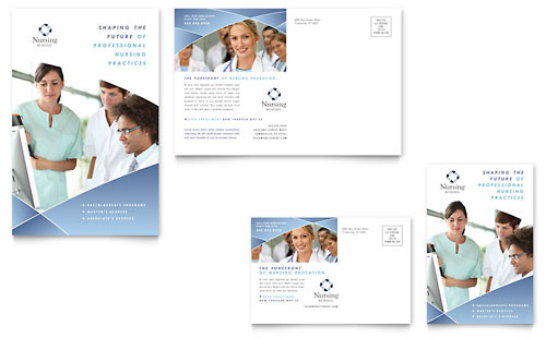 Nursing School Hospital Postcard - Microsoft Office Template