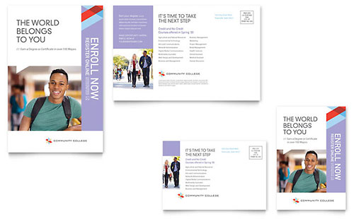 Community College Postcard Template - Microsoft Office
