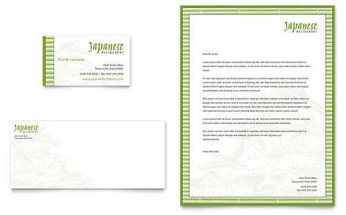 Japanese Restaurant Business Card & Letterhead Template - Microsoft Office