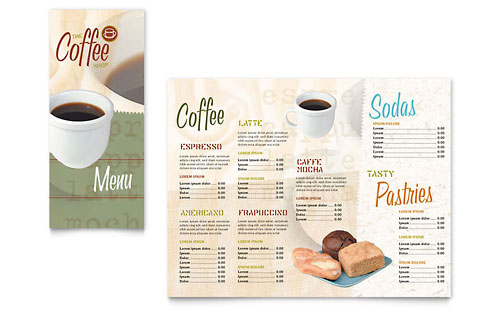 Coffee shop cafe menu templates word publisher for Menu brochure template word