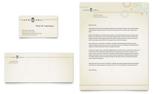 Cafe Deli Business Card & Letterhead Template - Microsoft Office