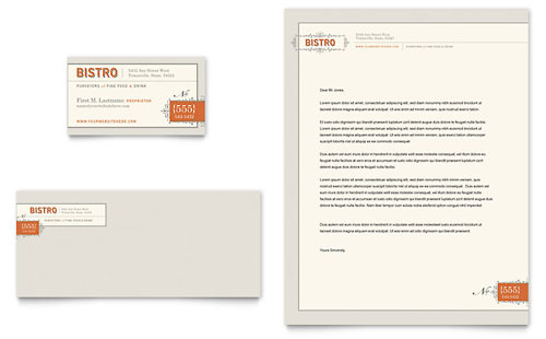 Bistro & Bar Business Card & Letterhead Template - Microsoft Office