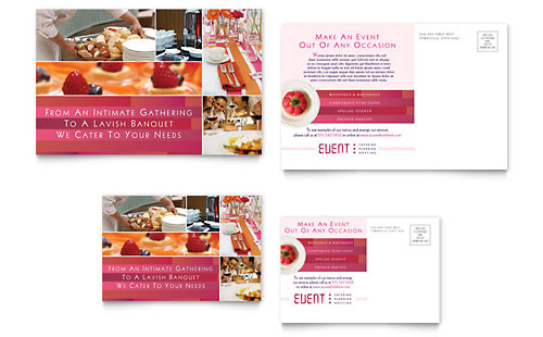 Corporate Event Planner & Caterer Postcard - Microsoft Office Template