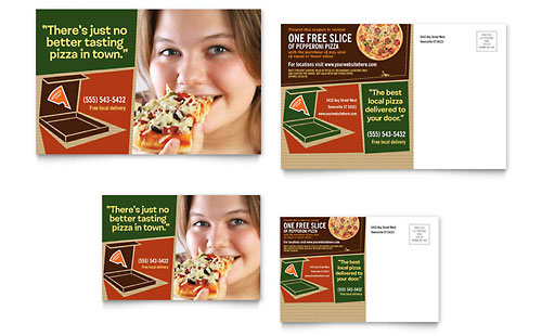 Pizza Pizzeria Restaurant Postcard Template Design