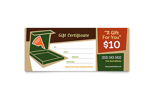 Pizza Pizzeria Restaurant Gift Certificate - Word & Publisher Template