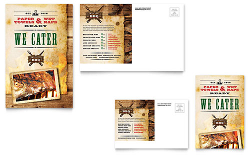 Steakhouse BBQ Restaurant Postcard Template - Microsoft Office