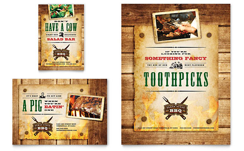 Steakhouse BBQ Restaurant Flyer & Ad - Microsoft Office Template