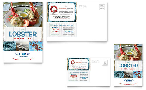 Seafood Restaurant Postcard Template Design