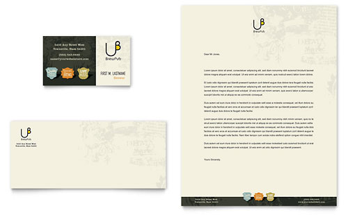 Brewery & Brew Pub Business Card & Letterhead - Microsoft Office Template