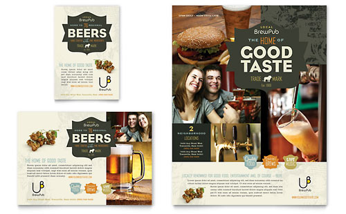 Brewery & Brew Pub Flyer & Ad Template Design