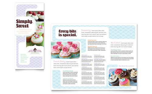 Bakery & Cupcake Shop Tri Fold Brochure Template Design