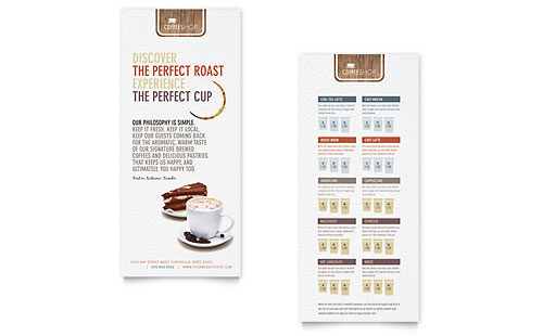 food beverage rack card templates word publisher