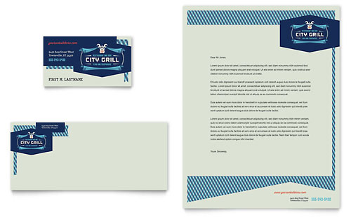 Fine Dining Restaurant Business Card & Letterhead Template - Microsoft Office