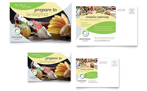 Food Catering Postcard Template - Microsoft Office