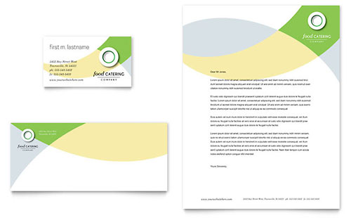 Food Catering Business Card & Letterhead Template - Microsoft Office