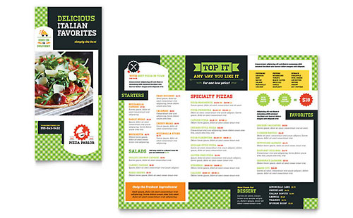 Pizza Parlor Take-out Brochure Template - Microsoft Office